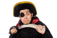 Ένας eyed πειρατής με το ξίφος που απομονώνεται στο λευκό Στοκ Εικόνες