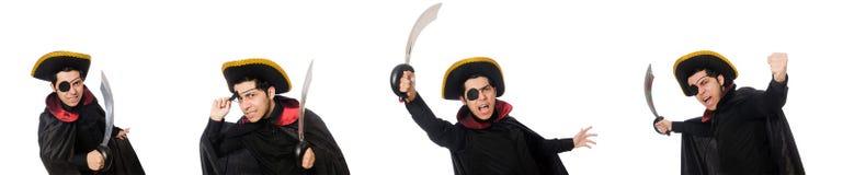 Ένας eyed πειρατής με το ξίφος που απομονώνεται στο λευκό Στοκ Φωτογραφίες