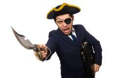 Ένας eyed πειρατής με το χαρτοφύλακα και ξίφος που απομονώνεται Στοκ φωτογραφία με δικαίωμα ελεύθερης χρήσης