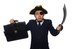 Ένας eyed πειρατής με το χαρτοφύλακα και ξίφος που απομονώνεται Στοκ Εικόνα