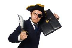 Ένας eyed πειρατής με το χαρτοφύλακα και ξίφος που απομονώνεται Στοκ Φωτογραφία