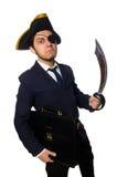 Ένας eyed πειρατής με το χαρτοφύλακα και ξίφος που απομονώνεται Στοκ εικόνα με δικαίωμα ελεύθερης χρήσης