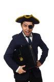 Ένας eyed πειρατής με το χαρτοφύλακα και ξίφος που απομονώνεται Στοκ εικόνες με δικαίωμα ελεύθερης χρήσης