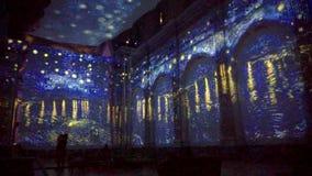 Έναστρη νύχτα πέρα από το Ροδανό απόθεμα βίντεο
