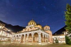 Έναστρη νύχτα στο μοναστήρι Rila Στοκ Εικόνες