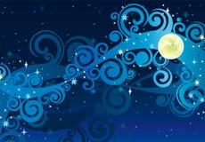Έναστρος ουρανός νύχτας με το κίτρινο φεγγάρι Ελεύθερη απεικόνιση δικαιώματος