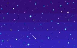 Έναστρος ουρανός νύχτας τέχνης εικονοκυττάρου διανυσματική απεικόνιση