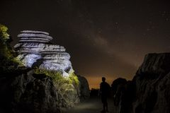 Έναστρο υπόβαθρο ουρανού τη νύχτα στη EL Torcal de Antequera φυσικό Στοκ εικόνες με δικαίωμα ελεύθερης χρήσης