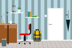 Ένα άνετο εσωτερικό ενός δωματίου παιδιών ` s με τα έπιπλα, πόρτα, schoo Στοκ εικόνες με δικαίωμα ελεύθερης χρήσης