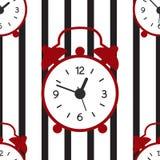 Ένα άνευ ραφής σχέδιο με τις γραμμές ξυπνητηριών και λωρίδων διανυσματική απεικόνιση