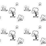 Ένα άνευ ραφής σχέδιο με τα δέντρα και τους Μπους Στοκ εικόνα με δικαίωμα ελεύθερης χρήσης