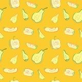 Ένα άνευ ραφής σχέδιο με τα μήλα και τα αχλάδια Στοκ Εικόνες