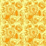 Ένα άνευ ραφής σχέδιο με τα πορτοκαλιά λουλούδια Στοκ Εικόνες