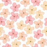 Ένα άνευ ραφής floral σχέδιο με το hand-drawn τρυφερό ρόδινο ελατήριο watercolor ανθίζει απεικόνιση αποθεμάτων