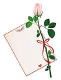 Ένα άσπρο λουλούδι με το κόκκινες τόξο και την κορδέλλα και με το κενό κενό Στοκ εικόνα με δικαίωμα ελεύθερης χρήσης