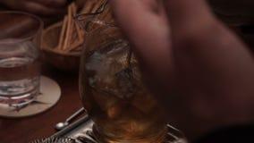 Ένα άτομο ανακατώνει τον πάγο σε ένα ποτό σε μια καράφα απόθεμα βίντεο