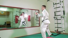 Ένα άτομο ασκεί και κάνει karate τις ασκήσεις 4k απόθεμα βίντεο
