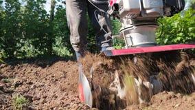 Ένα άτομο είναι αγρότης σε μια προαστιακή περιοχή, ένας φυτικός κήπος, οργώνει το έδαφος με έναν καλλιεργητή, ένα χειρωνακτικό άρ απόθεμα βίντεο
