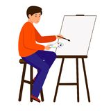 Ένα άτομο επισύρει την προσοχή μια εικόνα στον καμβά Ο καλλιτέχνης κρατά μια βούρτσα και ένα χρώμα Ο χαρακτήρας κάθεται easel απεικόνιση αποθεμάτων
