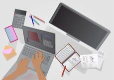 Ένα άτομο εργάζεται σε έναν υπολογιστή επάνω από την όψη διανυσματική απεικόνιση