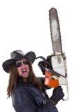 Ένα άτομο με ένα αλυσιδοπρίονο με μια έκφραση Στοκ Εικόνες