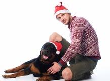 Ένα άτομο με ένα σκυλί Στοκ Εικόνες