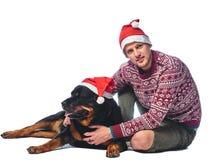 Ένα άτομο με ένα σκυλί Στοκ Εικόνα