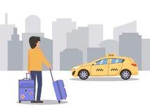Ένα άτομο με τις βαλίτσες περιμένει ένα ταξί on-line διανυσματική απεικόνιση