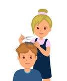 Ένα άτομο μπήκε σε το barbershop για να πάρει ένα κούρεμα Ο κομμωτής γυναικών κάνει το κούρεμα και τον προσδιορισμό τρίχας διανυσματική απεικόνιση