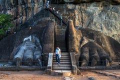 Ένα άτομο περπατά μέσω των ποδιών λιονταριών που οδηγεί στη σύνοδο κορυφής του βράχου Sigiriya στη Σρι Λάνκα Στοκ Φωτογραφία