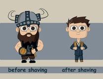 Ένα άτομο που ξυρίζει και μετά από να ξυρίσει Στοκ Εικόνες