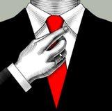 Ένα άτομο σε ένα επιχειρησιακό κοστούμι που ρυθμίζει το χέρι του με έναν κόκκινο δεσμό διανυσματική απεικόνιση