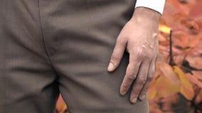 Ένα άτομο σε ένα κοστούμι στέκεται στα πλαίσια των πεσμένων φύλλων απόθεμα βίντεο