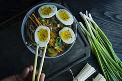 Ένα άτομο τρώει τα νουντλς soba φαγόπυρου με τη σάλτσα και τα δευτερεύοντα πιάτα στο ζωμό Ιαπωνικά τρόφιμα E r Άποψη στοκ εικόνα