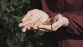 Ένα άτομο φυσά τα χρυσά σπινθηρίσματα από τα χέρια του στα πλαίσια της φύσης απόθεμα βίντεο