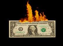 1 δολάριο που καίει Στοκ φωτογραφία με δικαίωμα ελεύθερης χρήσης