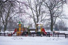 Έδαφος παιχνιδιού το χειμώνα Στοκ Φωτογραφία