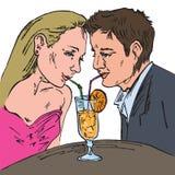 Ένα αγαπώντας ζεύγος που πίνει μαζί τα άχυρα κοκτέιλ, χέρι που σύρεται doodle διανυσματική απεικόνιση