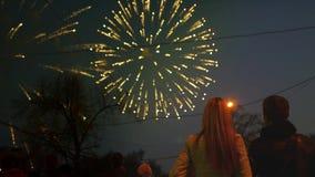 Ένα αγαπώντας ζεύγος στέκεται έναν όμορφο χαιρετισμό στο νυχτερινό ουρανό 4k, 3840x2160 HD απόθεμα βίντεο