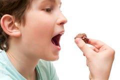 Ένα αγόρι εξετάζει την τρούφα σοκολάτας Στοκ Εικόνα