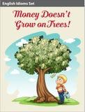 Ένα αγόρι κάτω από το δέντρο χρημάτων απεικόνιση αποθεμάτων