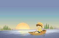 Ένα αγόρι και μια βάρκα διανυσματική απεικόνιση