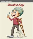 Ένα αγόρι με ένα σπασμένο πόδι διανυσματική απεικόνιση