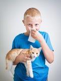Ένα αγόρι με την αλλεργία γατών στοκ εικόνα