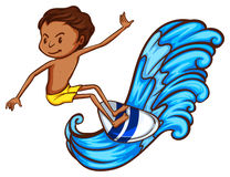 Ένα αγόρι που απολαμβάνει τα κύματα Στοκ φωτογραφία με δικαίωμα ελεύθερης χρήσης