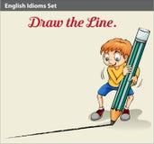 Ένα αγόρι που σύρει μια γραμμή ελεύθερη απεικόνιση δικαιώματος