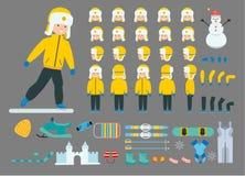 Ένα αγόρι στο σύνολο διακοπών Έτοιμος να χρησιμοποιήσει το χαρακτήρα - σύνολο Εικονίδια με τους διαφορετικούς τύπους προσώπων και Στοκ Εικόνα