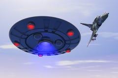 Ένα αεριωθούμενο αεροπλάνο αγώνα χτυπά ένα ufo απεικόνιση αποθεμάτων