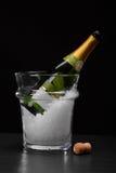 Ένα ακριβό μπουκάλι της σαμπάνιας σε έναν διαφανή κάδο που γεμίζουν με τον πάγο σε ένα μαύρο υπόβαθρο η έννοια εορτασμού απομόνωσ στοκ εικόνα με δικαίωμα ελεύθερης χρήσης