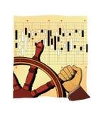 Ένα ανθρώπινο χέρι που γυρίζει μια παλαιά ξύλινη ρόδα Χειρωνακτικός έλεγχος Επενδύσεις, χρηματιστήριο, αμοιβαία κεφάλαια απεικόνιση αποθεμάτων